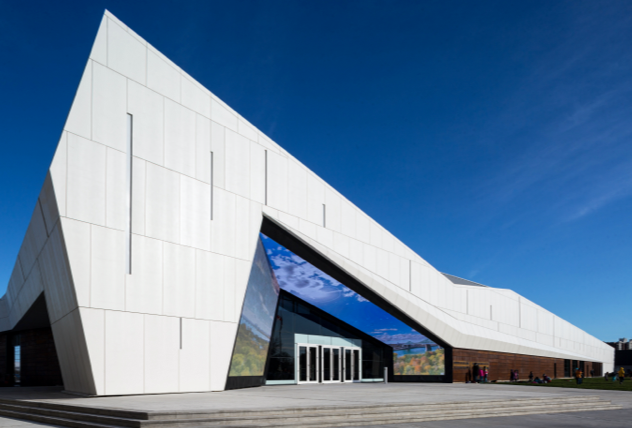 Ceramitex on Unity system allows for complex miteres on Canada Science and Technology Museum in Ottawa
